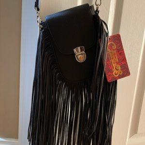 NWT Black faux leather cross body fringe bag